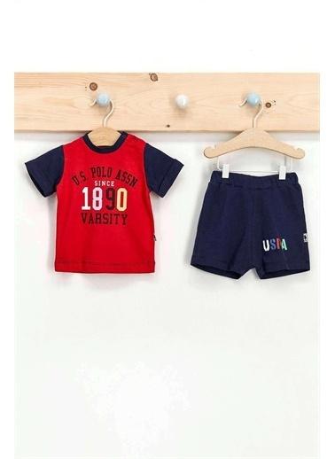 U.S. Polo Assn. Lisanslı Kırmızı Erkek Bebek Şort Takım Kırmızı